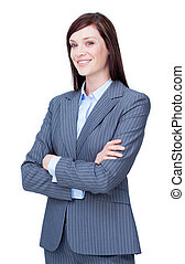 Attractive businesswoman with folded arms