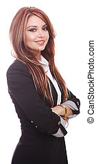 Attractive Businesswoman with her Arms Crossed - Attractive...