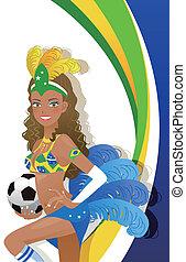 Attractive Carnival dancer holding - Attractive Brazilian...