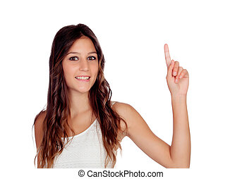 Attractive casual girl in green asking to speak