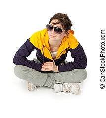 casual girl sitting on white