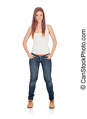 Attractive casual girl with jeans