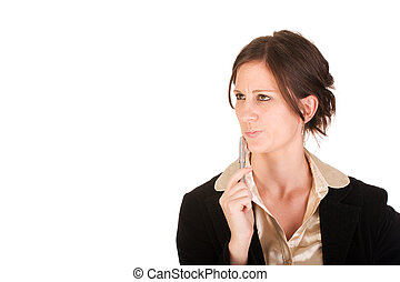 Attractive Caucasian business woman in thought - Attractive...