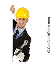 Attractive caucasian businessman, equipped