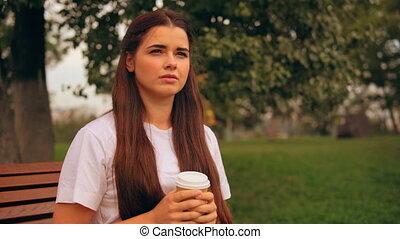 attractive caucasian girl enjoy break outdoors