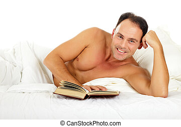 Attractive caucasian man, book