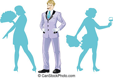Attractive caucasian man with corps de ballet dancers silhouettes