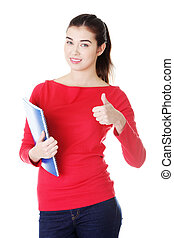 Attractive caucasian smiling woman gesturing thumb up