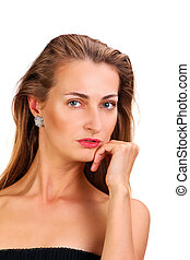 Attractive caucasian woman close up portrait