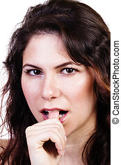 Attractive Caucasian Woman Portrait Biting Her Thumb