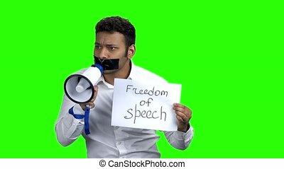 Attractive censored man with megaphone. Chroma Key...