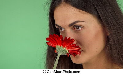 Attractive cheerful woman smelling a flower and smiling