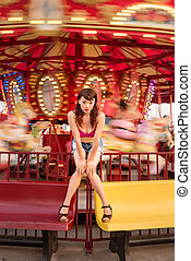 Attractive Chinese girl at the carnival