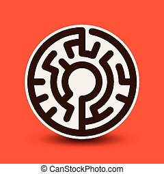 attractive circular maze isolated on bright orange background