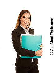attractive confident business woman holds a folder of documents isolated over white