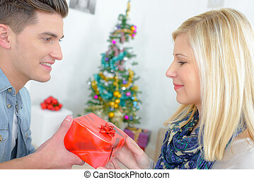attractive couple at christmas