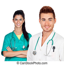 Attractive couple of doctors