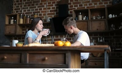 Attractive couple spending lovely morning together