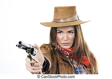 cowgirl with gun - Attractive cowgirl with gun on white...