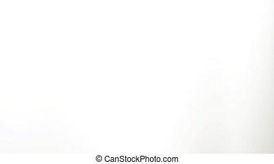 Attractive Dj girl in black top spinning at turntable in nightclub. Singing