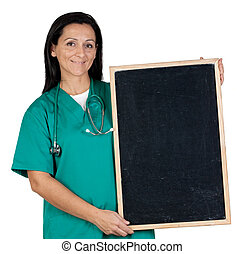 Attractive doctor with a blank slate