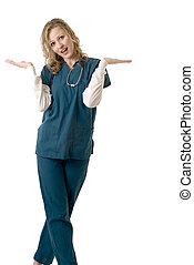 Attractive doctor with hands out