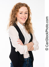 Attractive elegant cheerful young girl with curly hair.