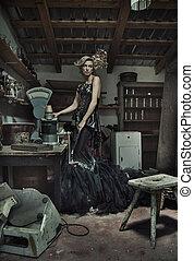Attractive elegant lady in retro room