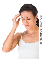Attractive ethnic woman suffering from headache