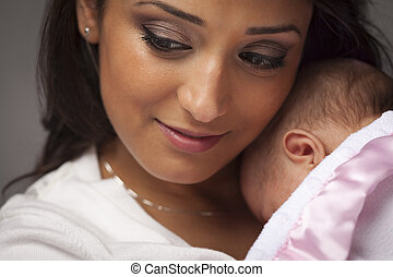 Attractive Ethnic Woman with Her Newborn Baby - Young...