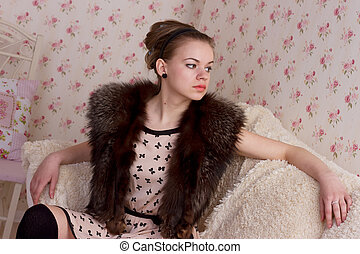 attractive fashionable woman in interior - An attractive...