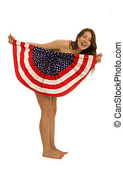 Attractive female American with flag isolated over white