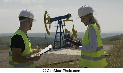 Attractive female engineer and foreman discussing about work...