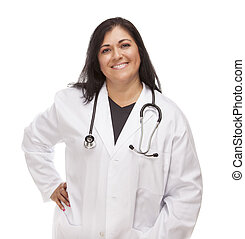 Attractive Female Hispanic Doctor or Nurse Isolated on a...