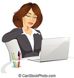 female office worker suffering neck pain