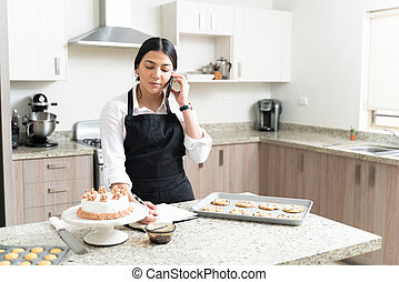 Attractive Female Pastry Chef On Call At Home