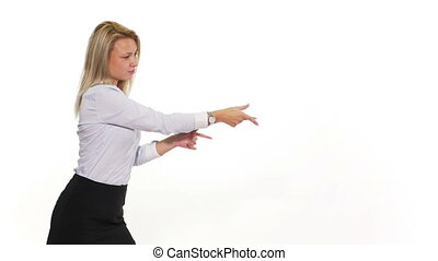 Attractive female pulling an invisible rope and presenting something