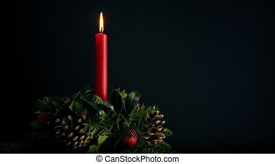 Attractive Festive Wreath With Candle - Festive wreath with...