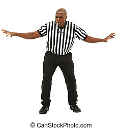 Attractive fit black man in referee uniform facing front and...