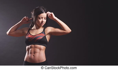 Attractive fitness woman, trained female body. - Attractive...