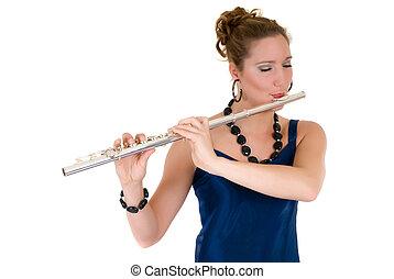 Attractive young female flautist, flutist holding flute. Evening dress. Studio shot, white background.