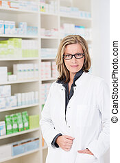 Attractive friendly woman pharmacist