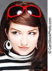 Attractive / Funky 60\\\'s retro woman beauty shot -...