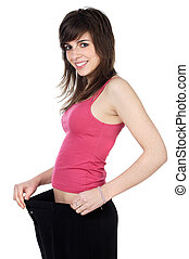 girl after becoming thin by a diet - attractive girl after...