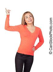 Attractive girl asking to speak