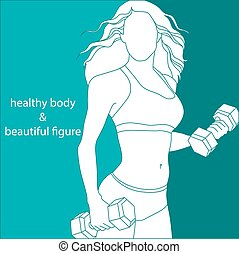 silhouette of a attractive woman athletic build on a blue background