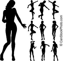 attractive girl dancing silhouette
