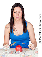 Attractive girl eating a apple