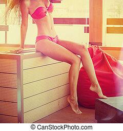 attractive girl in bikini summer day