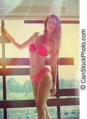 attractive girl in bikini summer time